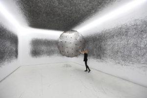 Karina Smigla-Bobinski, ADA, variable dimensions, 2010, PVC balloon, helium, charcoal sticksPhotos: Caitlind r.c. Brown and Karina Smigla-Bobinski